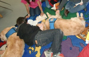 """Children from the Oso mudslide find comfort in reading with """"Dogs On Call"""" -- Photo Credit: Kathy Knox"""