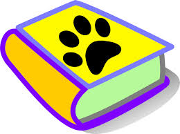 Paw print on book