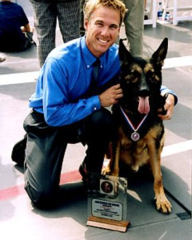 Canadian search and rescue dog Trakr with James Symington